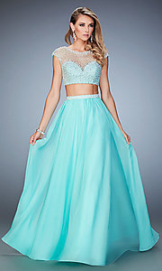 Long La Femme Cap Sleeve Two Piece Prom Dress