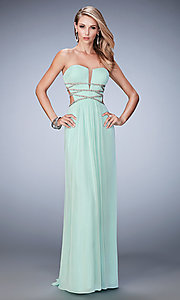 Open Back Long Strapless Prom Dress by La Femme