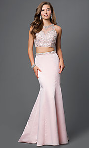 Sleeveless Two Piece Prom Dress with Rhinestone Embellished Bodice
