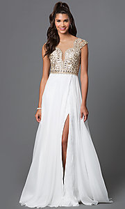 Cap Sleeve Open Back Floor Length Prom Dress with Lace Embellished Sheer Bodice