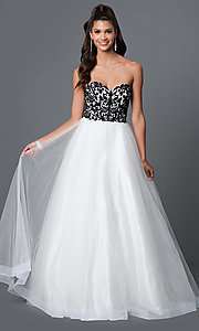 Long White Strapless Dress with Black Lace Embroidered Bodice