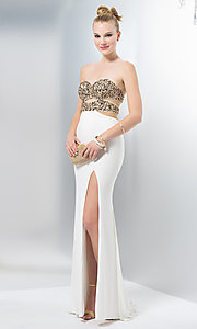 Illusion Bodice Floor Length Dress with Jewel Detailing and Slit