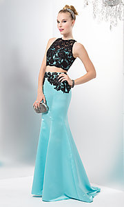 Aqua Blue Two Piece Mermaid Style Dress