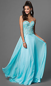 Image of long sweetheart jeweled chiffon prom dress Style: CD-1446 Front Image