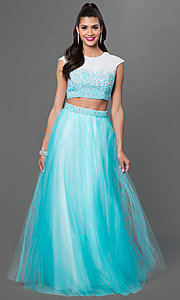Two-Piece Terani Ball Gown with Floor Length Skirt