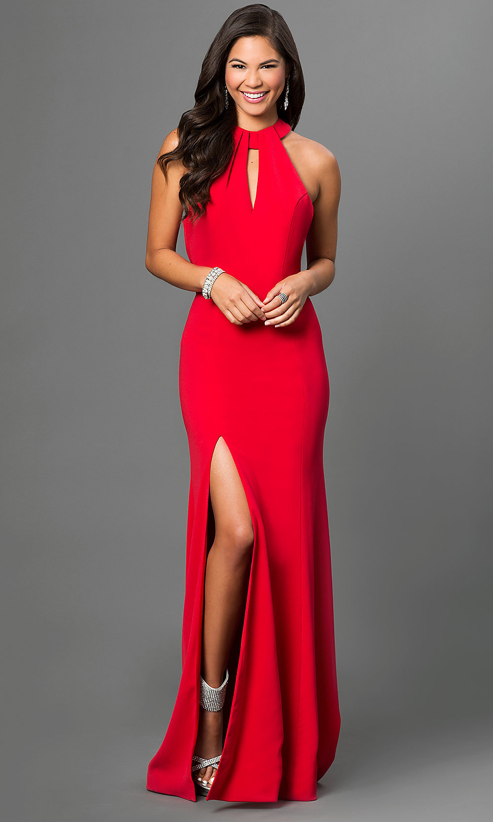Open-Back Long Red Terani Prom Dress - PromGirl