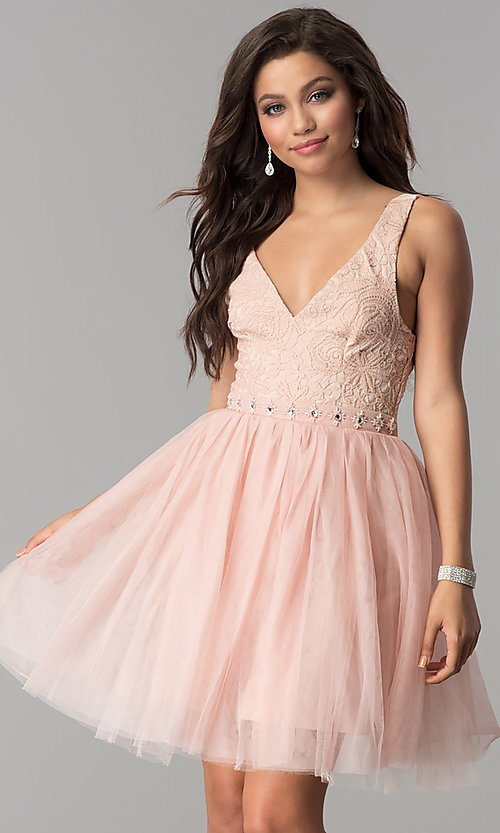 Image of short sleeveless v-neck embroidered-lace bodice dress Style: LP-23005 Detail Image 3