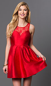Image of short sleeveless fit and flare lace top dress Style: LP-23238 Front Image