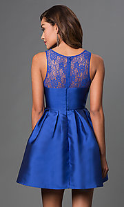 Image of short sleeveless fit and flare lace top dress Style: LP-23238 Back Image