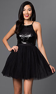 Image of short sequined-bodice babydoll homecoming dress. Style: LP-23557 Detail Image 3