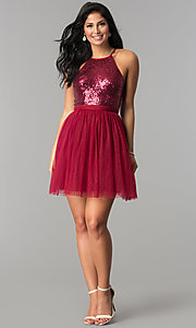 Image of short sequined-bodice babydoll homecoming dress. Style: LP-23557 Detail Image 2