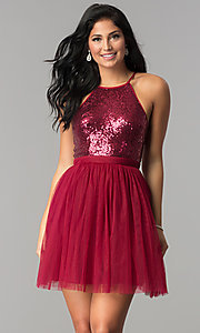 Image of short sequined-bodice babydoll homecoming dress. Style: LP-23557 Front Image