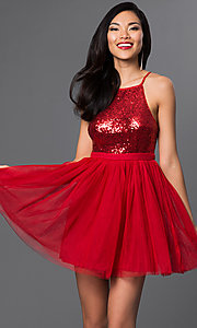 Image of short sequined-bodice babydoll homecoming dress. Style: LP-23557 Detail Image 1