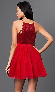 Image of short sequined-bodice babydoll homecoming dress. Style: LP-23557 Back Image