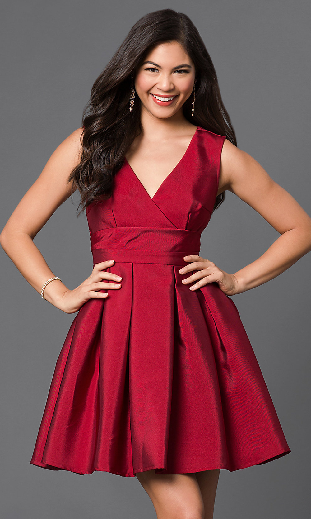 Short Cheap V Neck Satin Homecoming Dress Promgirl
