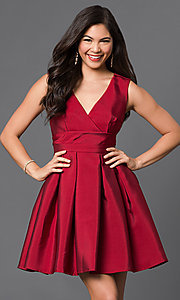 Image of short v-neck fit-and-flare satin homecoming dress. Style: LP-23320 Detail Image 1