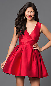 Image of short v-neck fit-and-flare satin homecoming dress. Style: LP-23320 Detail Image 2
