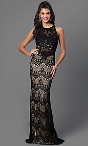 Image of sleeveless floor length lace dress Style: JO-JVN-JVN36763 Front Image