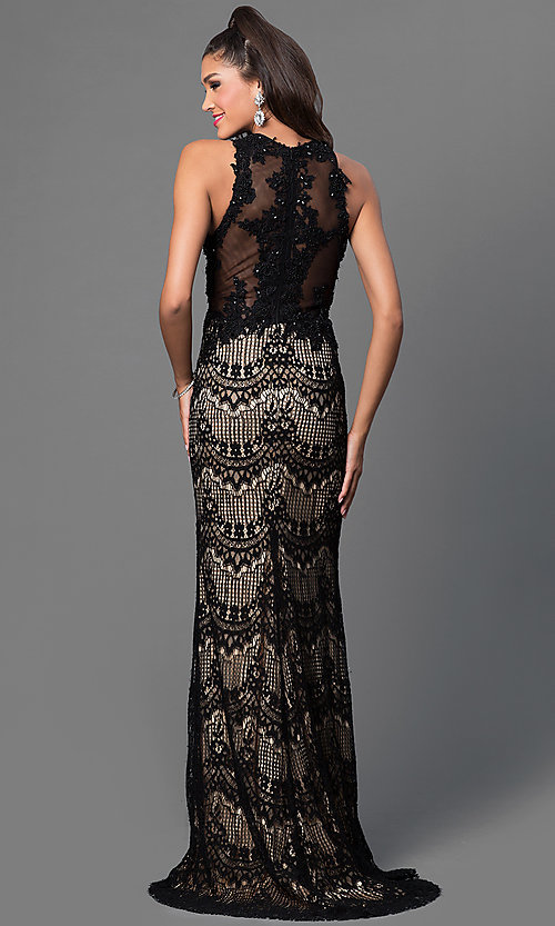Image of sleeveless floor length lace dress Style: JO-JVN-JVN36763 Back Image