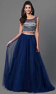 Image of two piece sleeveless navy blue floor length dress Style: JO-JVN-JVN30023 Front Image