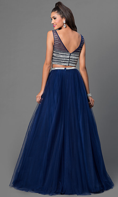 Image of two piece sleeveless navy blue floor length dress Style: JO-JVN-JVN30023 Back Image