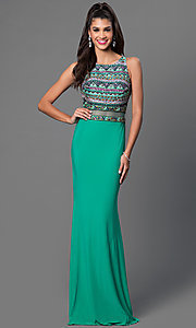 Green Floor Length Sleeveless JVN by Jovani Dress with Sheer Waist