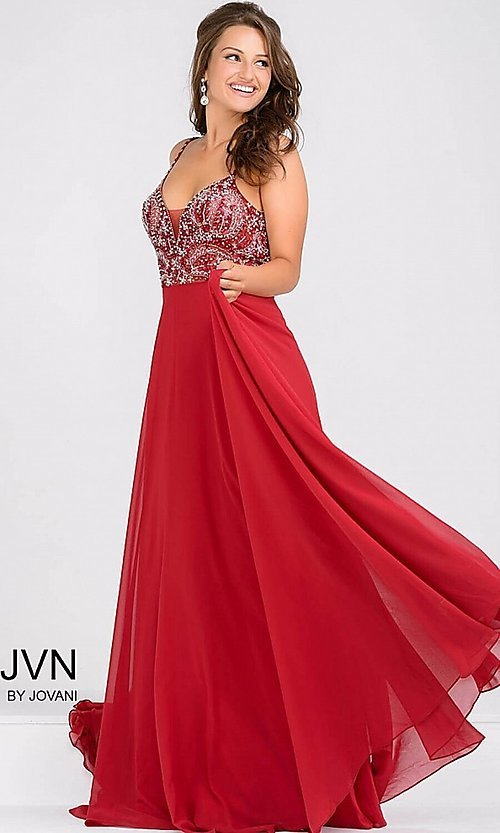 Image of long open-back beaded-bodice dress Style: JO-JVN-JVN33701 Detail Image 2