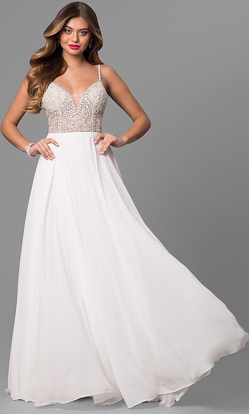Image of long open-back beaded-bodice dress Style: JO-JVN-JVN33701 Front Image