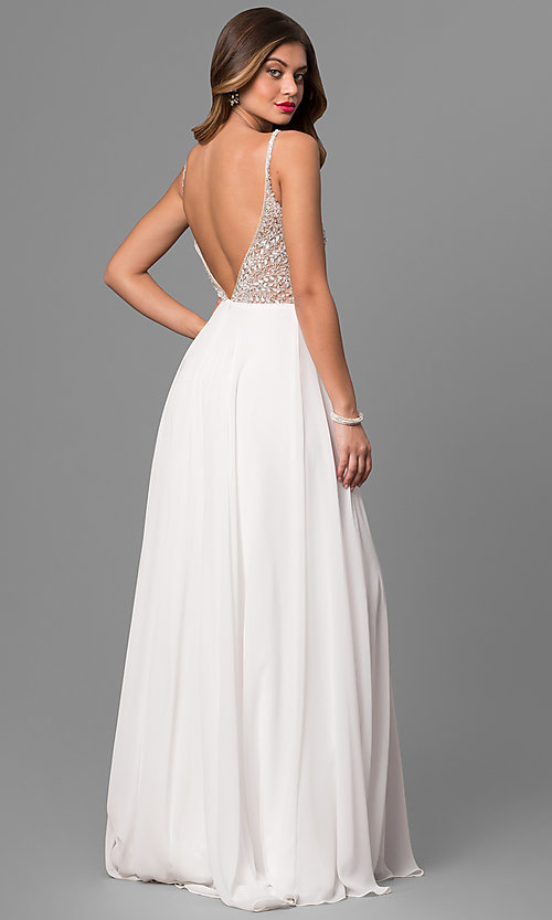 Image of long open-back beaded-bodice dress Style: JO-JVN-JVN33701 Back Image