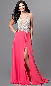 Sleeveless Floor Length Dress with Sequin Embellished Bodice by Terani