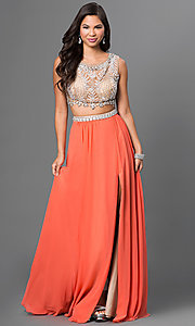 Two Piece Sleeveless Floor Length Dress with Jewel Embellished Bodice by Terani
