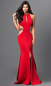 High Neck Open Back Floor Length Dress by Terani