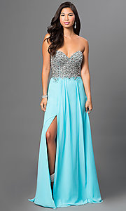 Strapless Terani Dress with Embellished Bodice