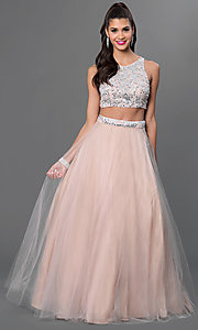Two Piece Terani Dress with Jewel Embellished Bodice