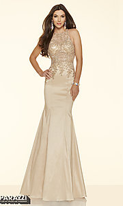 Long Prom Dress with Sheer Beaded Bodice by Mori Lee