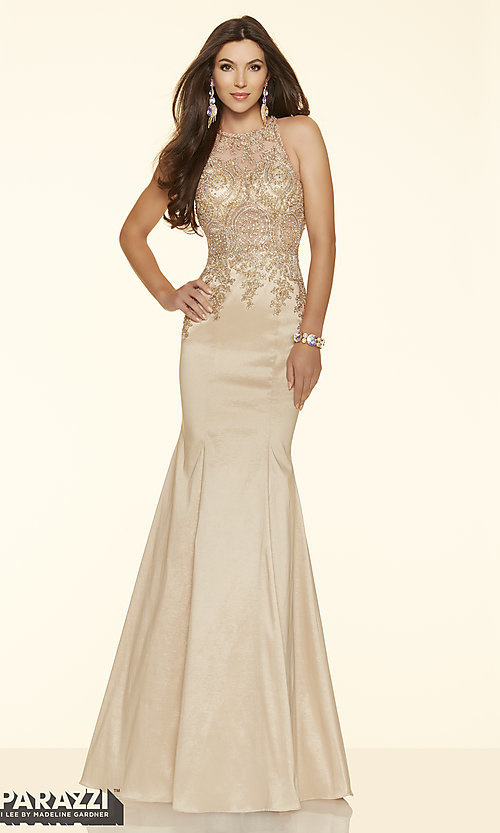 Image of long prom dress with sheer beaded bodice by Mori Lee. Style: ML-98035 Front Image