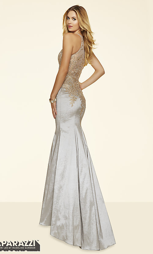 Image of long prom dress with sheer beaded bodice by Mori Lee. Style: ML-98035 Back Image