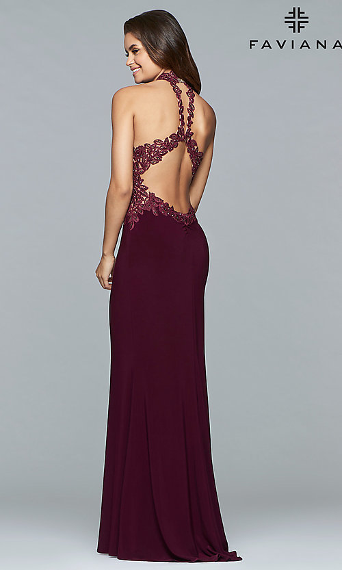 Image of high-neck Faviana prom dress with embroidered bodice. Style: FA-7750 Back Image