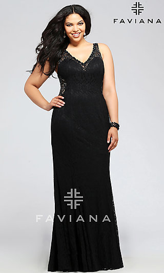Lace V-neck Plus Size Prom Dress by Faviana