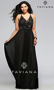 Long V-neck Faviana Plus Size Prom Dress