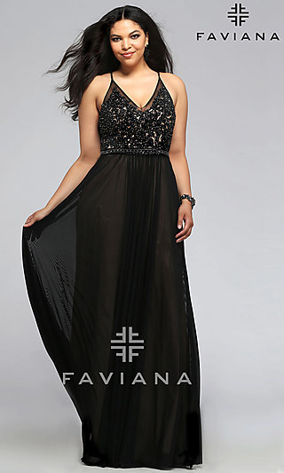 Long V-Neck Faviana Plus-Size Formal Prom Dress