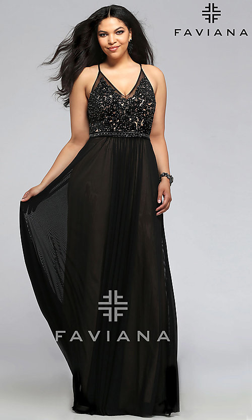Image of long v-neck Faviana plus-size formal prom dress. Style: FA-9373 Front Image