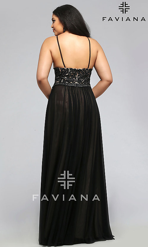 Image of long v-neck Faviana plus-size formal prom dress. Style: FA-9373 Back Image