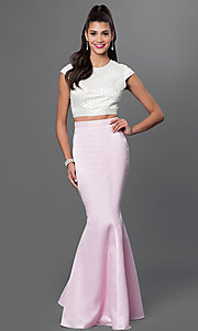 Two Piece Pearl Mermaid Open Back Prom Dress