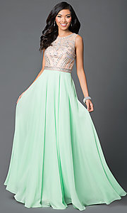 Sleeveless Floor Length Light Green Dress with Jewel Detailing
