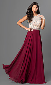 Long Burgundy Red Prom Dress with Beaded Bodice