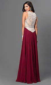 Image of long burgundy red prom dress with beaded bodice. Style: NA-8249-B Back Image