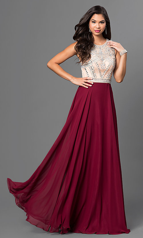 Image of long burgundy red prom dress with beaded bodice. Style: NA-8249-B Front Image