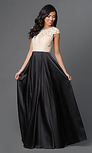 Image of long satin and lace cap-sleeve prom dress.  Style: NA-8189 Front Image