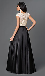 Image of long satin and lace cap-sleeve prom dress.  Style: NA-8189 Back Image